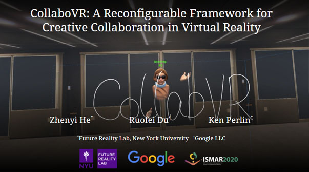 CollaboVR: A Reconfigurable Framework for Multi-User to Communicate in Virtual Reality Teaser Image.