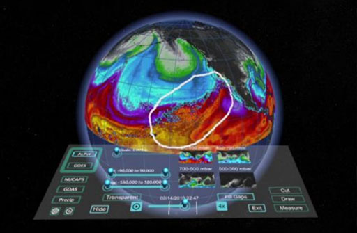 MeteoVis: Visualizing Meteorological Events in Virtual Reality Teaser Image.